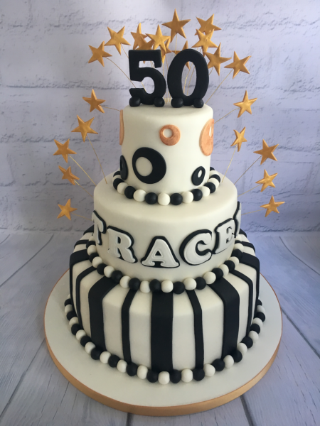 Black-white-and-gold-three-tier-cake