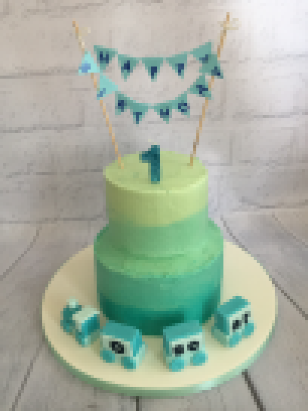 Blue-and-Green-ombre-buttercream-cake-with-train