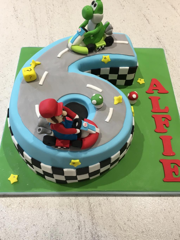 Mario-Kart-number-6-cake