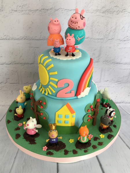 Peppa-Pig-2-tier-cake-with-toys-as-models