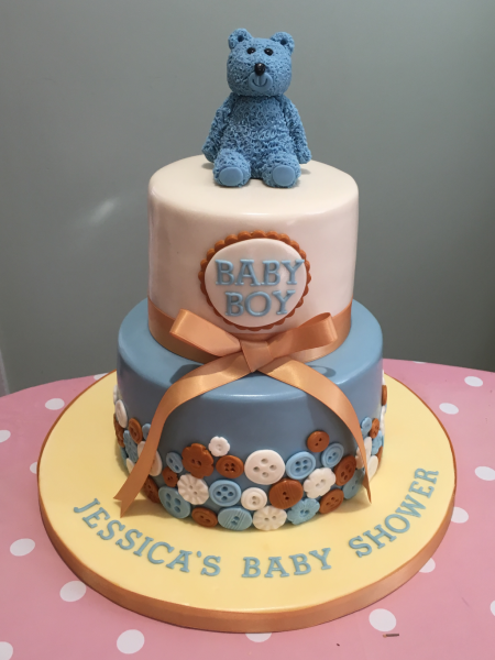 Teddy-and-Buttons-baby-shower-cake
