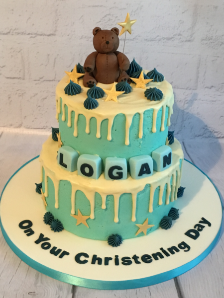 Teddy-buttercream-drip-Christening-cake