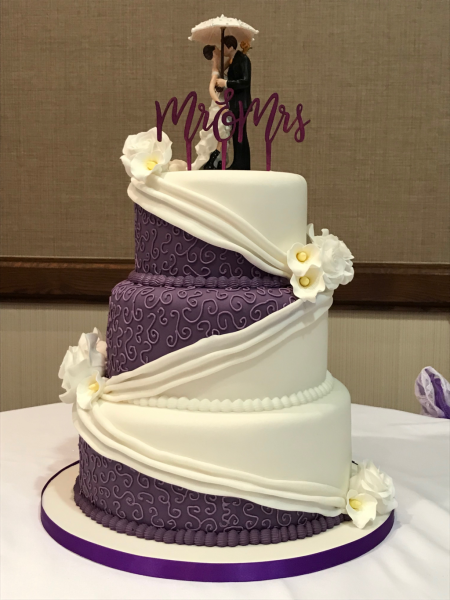 Purple-and-White-Swag-Wedding-Cake