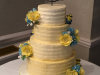 Buttercream-yellow-and-blue-roses-wedding-cake